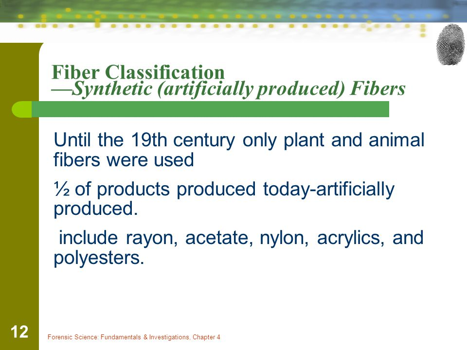 Forensic Science: Fundamentals & Investigations, Chapter 4 12 Fiber Classification —Synthetic (artificially produced) Fibers Until the 19th century only plant and animal fibers were used ½ of products produced today-artificially produced.