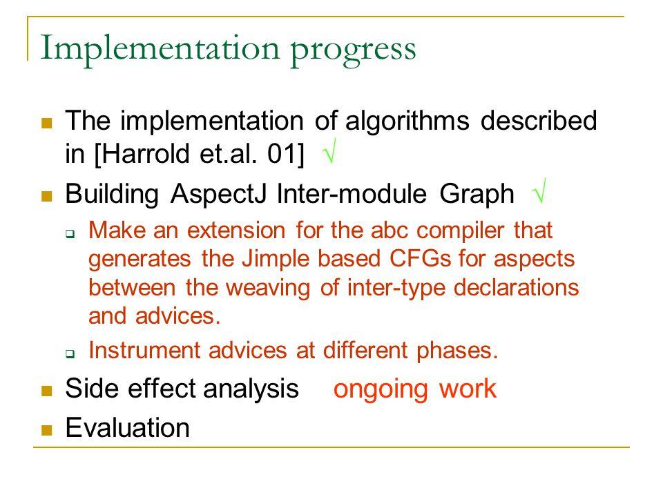 Implementation progress The implementation of algorithms described in [Harrold et.al.