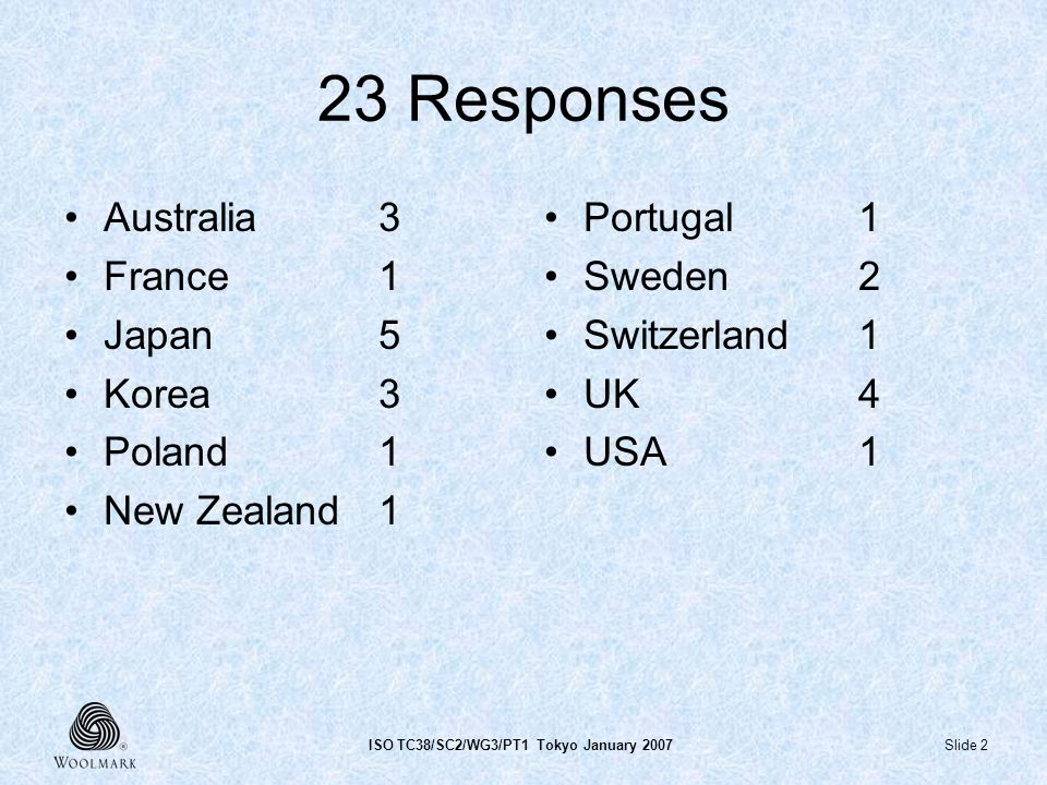 Slide 2ISO TC38/SC2/WG3/PT1 Tokyo January 2007 23 Responses Australia3 France1 Japan5 Korea 3 Poland1 New Zealand1 Portugal1 Sweden2 Switzerland1 UK4