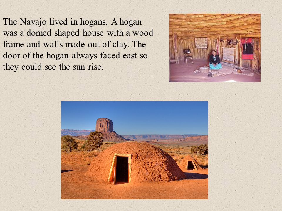 The Navajo lived in hogans. A hogan was a domed shaped house with a wood frame and walls made out of clay. The door of the hogan always faced east so