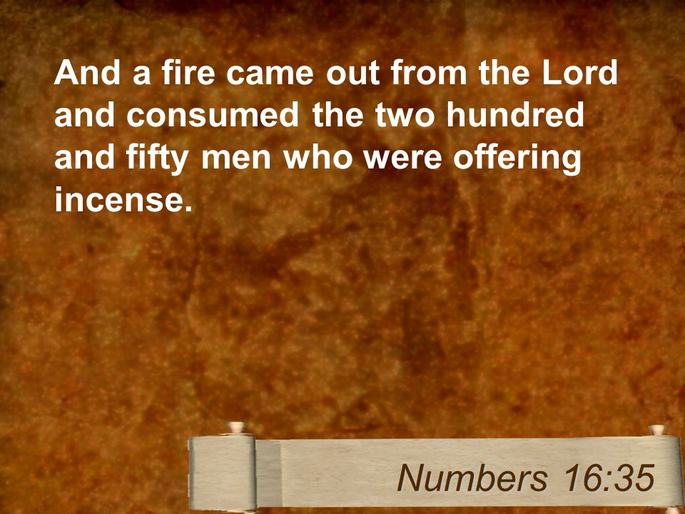 And a fire came out from the Lord and consumed the two hundred and fifty men who were offering incense.