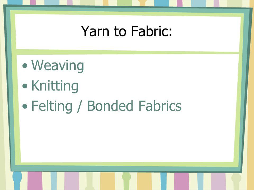 Yarn to Fabric: Weaving Knitting Felting / Bonded Fabrics