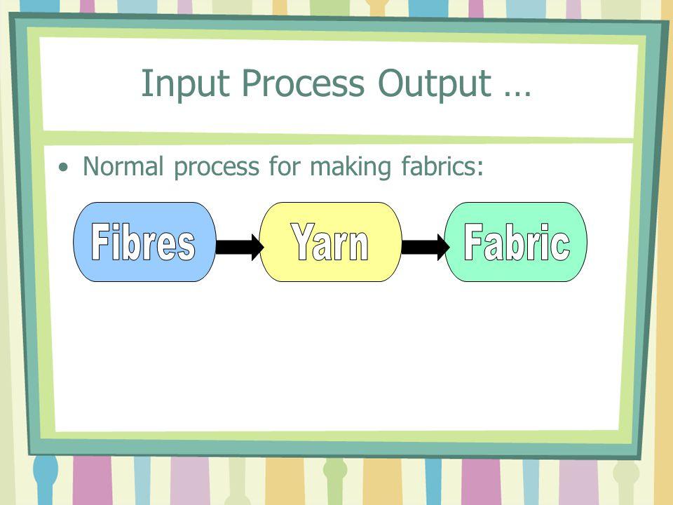 Input Process Output … Normal process for making fabrics: