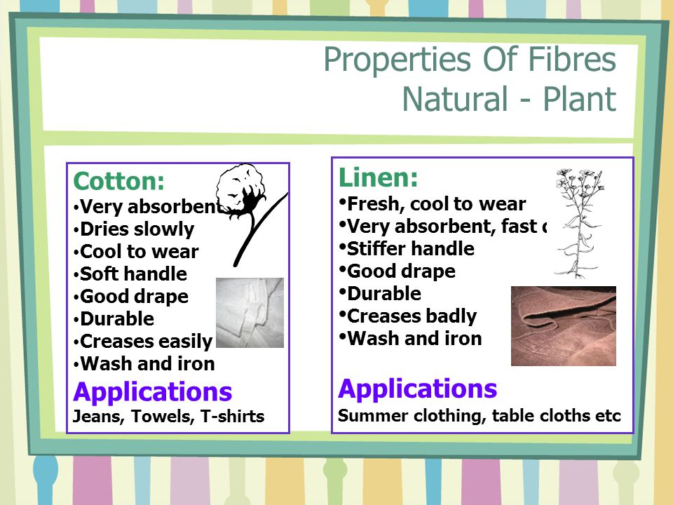 Properties Of Fibres Natural - Plant Cotton: Very absorbent Dries slowly Cool to wear Soft handle Good drape Durable Creases easily Wash and iron Applications Jeans, Towels, T-shirts Linen: Fresh, cool to wear Very absorbent, fast drying Stiffer handle Good drape Durable Creases badly Wash and iron Applications Summer clothing, table cloths etc