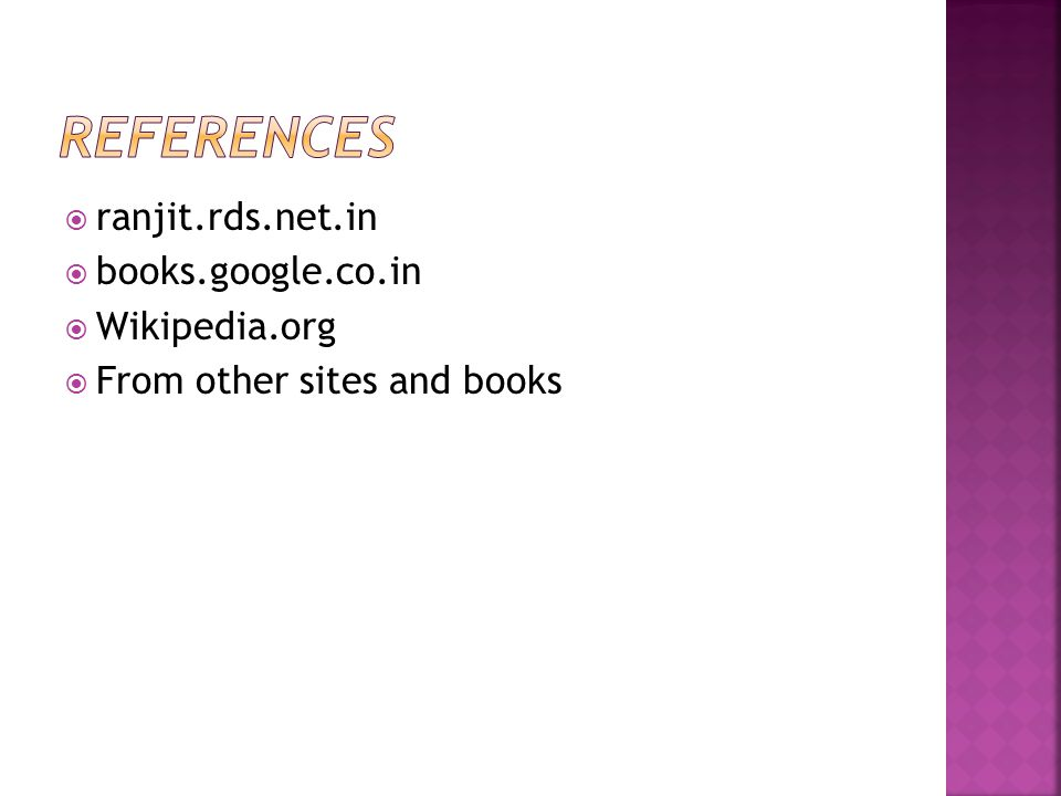  ranjit.rds.net.in  books.google.co.in  Wikipedia.org  From other sites and books