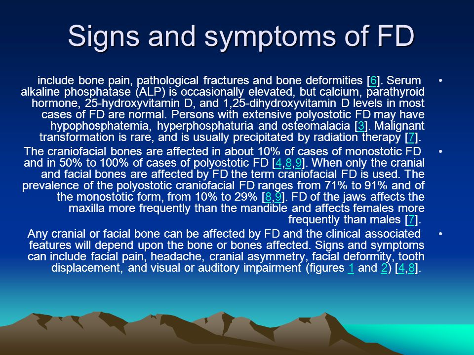 Signs and symptoms of FD include bone pain, pathological fractures and bone deformities [6].
