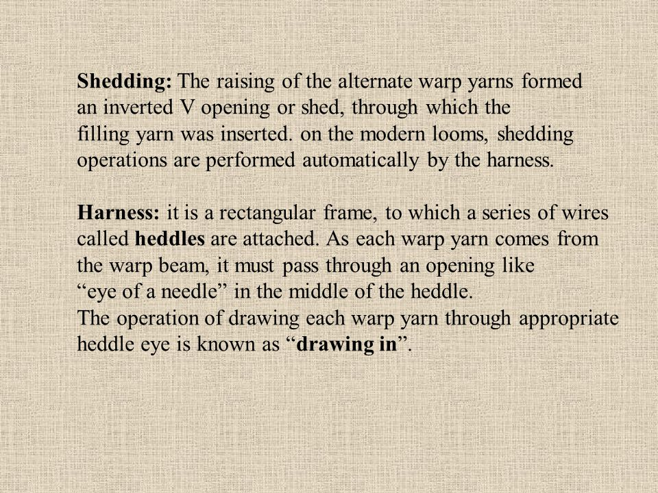 Shedding: The raising of the alternate warp yarns formed an inverted V opening or shed, through which the filling yarn was inserted.