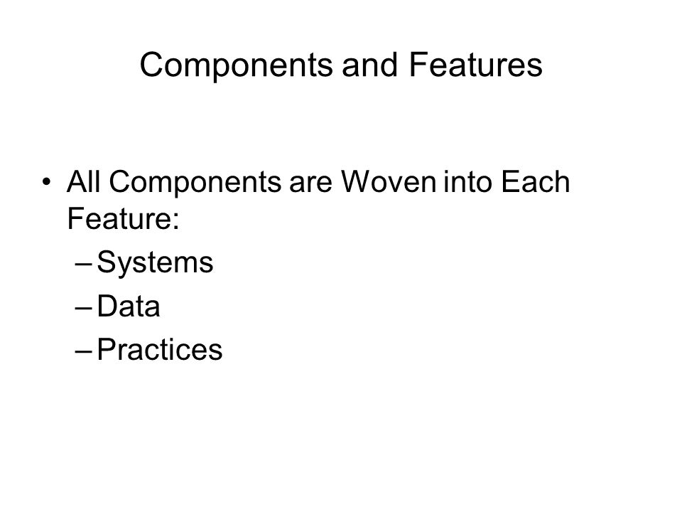 Components and Features All Components are Woven into Each Feature: –Systems –Data –Practices