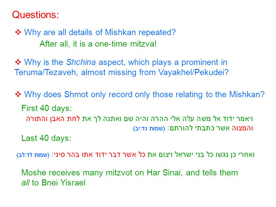 Why are all details of Mishkan repeated. Questions: After all, it is a one-time mitzva.
