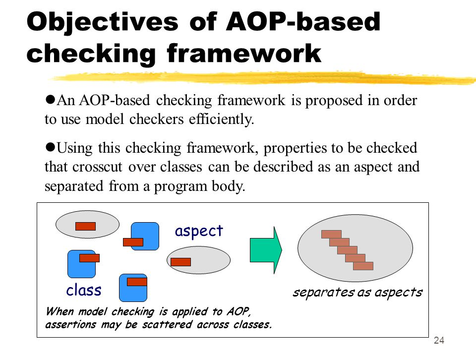 24 Objectives of AOP-based checking framework An AOP-based checking framework is proposed in order to use model checkers efficiently.