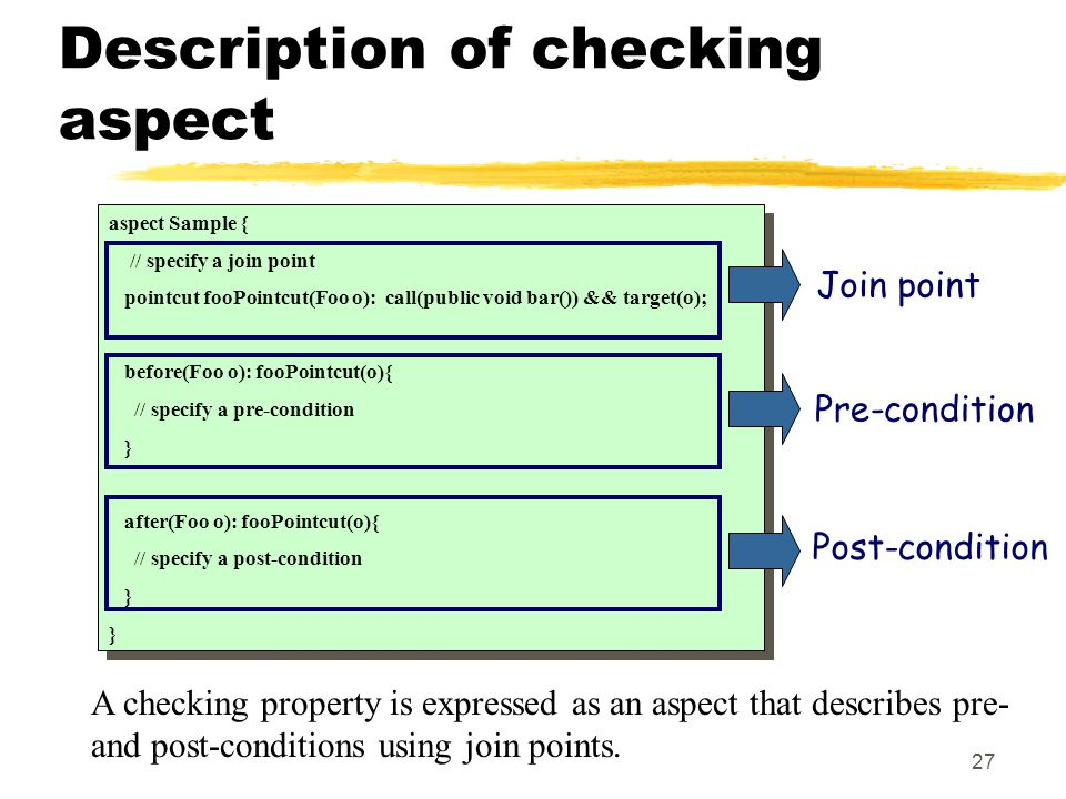 27 Description of checking aspect A checking property is expressed as an aspect that describes pre- and post-conditions using join points.