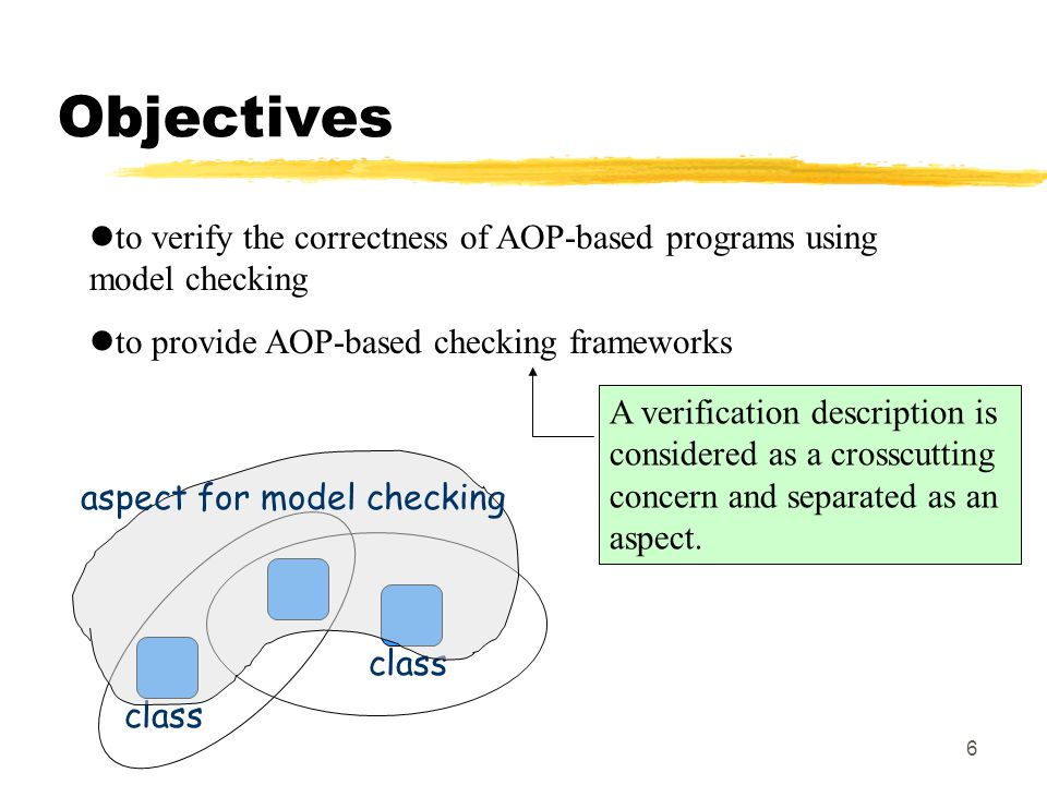 6 Objectives to verify the correctness of AOP-based programs using model checking to provide AOP-based checking frameworks A verification description is considered as a crosscutting concern and separated as an aspect.