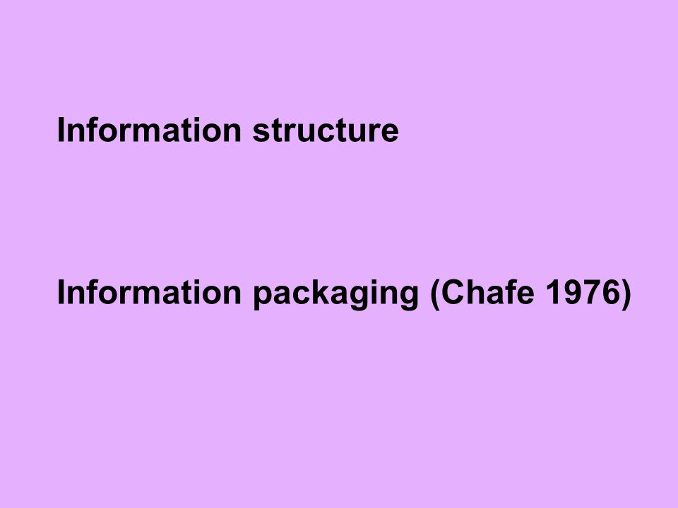 Information structure Information packaging (Chafe 1976)