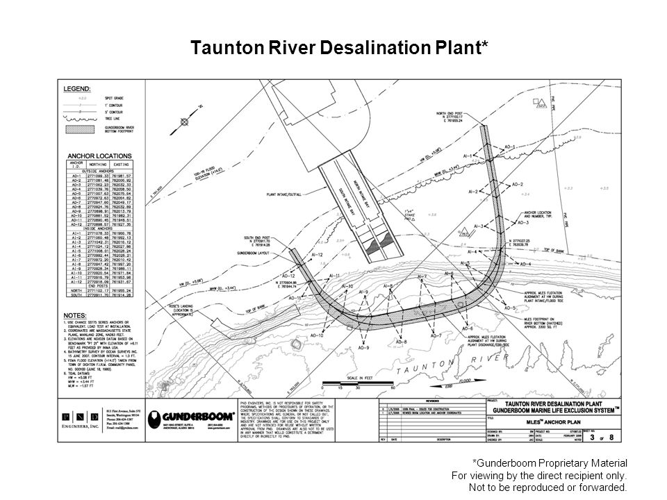 Taunton River Desalination Plant* *Gunderboom Proprietary Material For viewing by the direct recipient only.