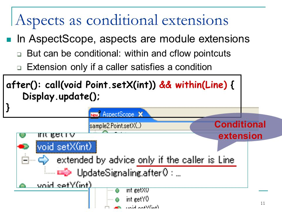 11 Aspects as conditional extensions In AspectScope, aspects are module extensions  But can be conditional: within and cflow pointcuts  Extension only if a caller satisfies a condition after(): call(void Point.setX(int)) && within(Line) { Display.update(); } Conditional extension