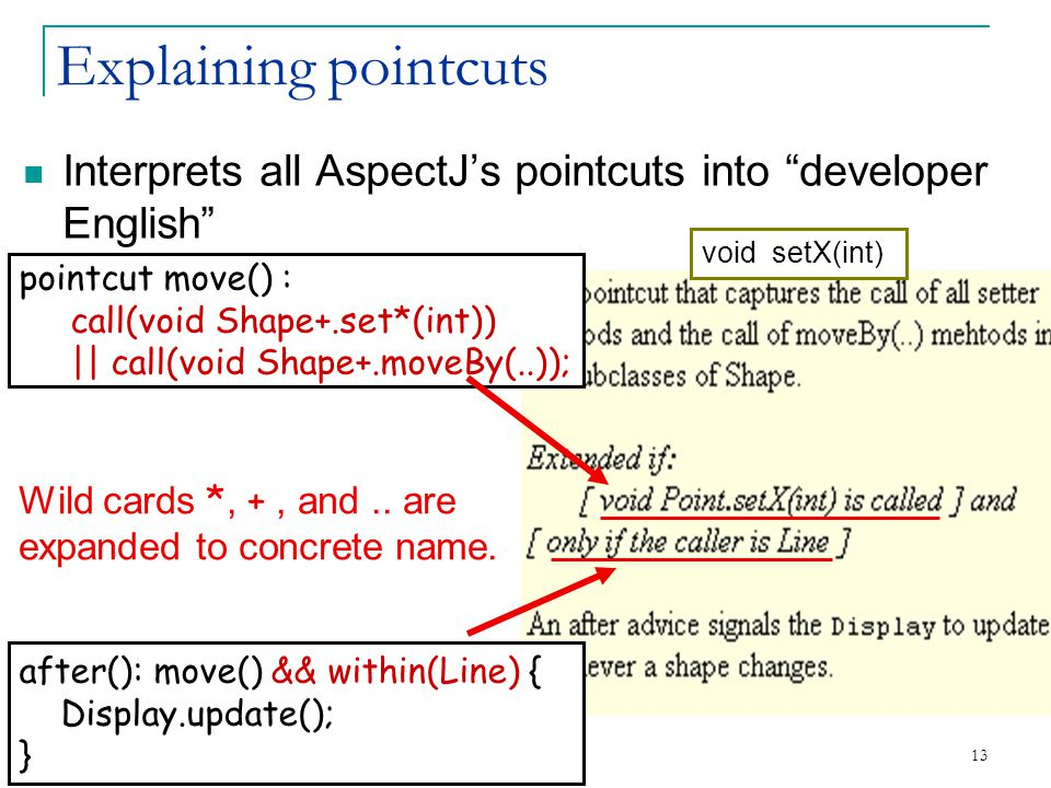 13 Explaining pointcuts Interprets all AspectJ's pointcuts into developer English pointcut move() : call(void Shape+.set*(int)) || call(void Shape+.moveBy(..)); after(): move() && within(Line) { Display.update(); } Wild cards *, +, and..