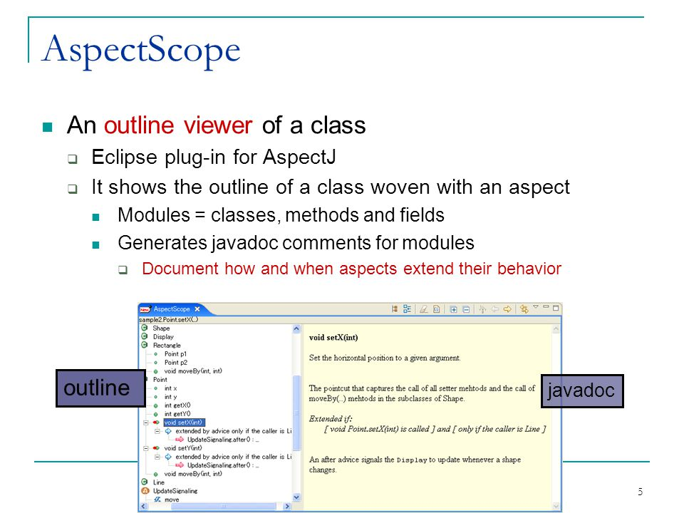 5 AspectScope An outline viewer of a class  Eclipse plug-in for AspectJ  It shows the outline of a class woven with an aspect Modules = classes, methods and fields Generates javadoc comments for modules  Document how and when aspects extend their behavior ここに AspectScope の図 outline javadoc