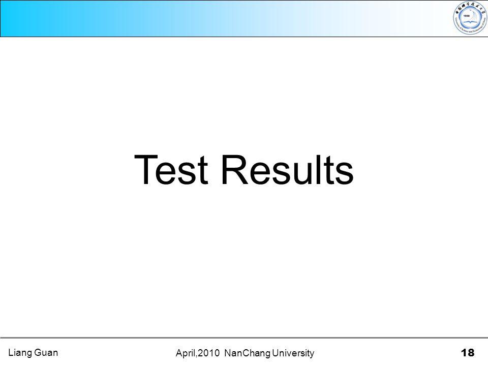 April,2010 NanChang University 18 Test Results Liang Guan