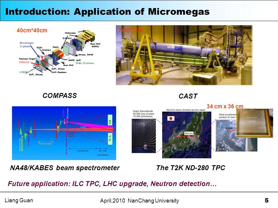 5 April,2010 NanChang University Introduction: Application of Micromegas COMPASS CAST 40cm*40cm 7cm*7cm NA48/KABES beam spectrometerThe T2K ND-280 TPC Future application: ILC TPC, LHC upgrade, Neutron detection… 34 cm x 36 cm Liang Guan