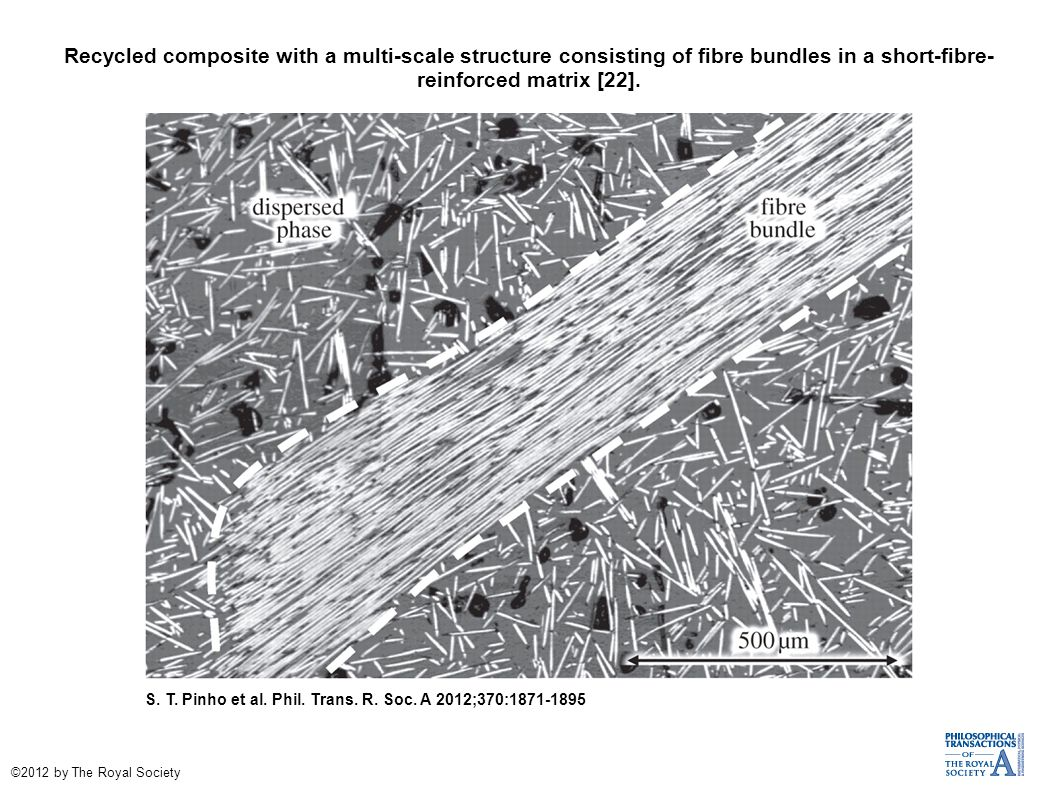 Recycled composite with a multi-scale structure consisting of fibre bundles in a short-fibre- reinforced matrix [22].