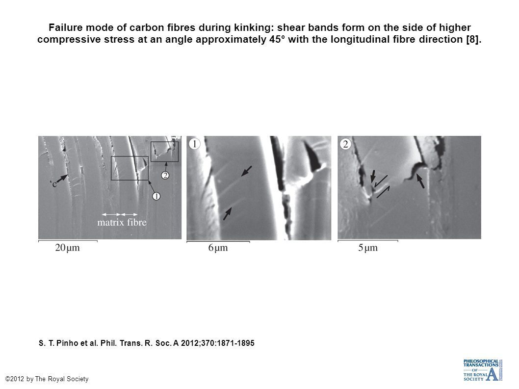 Failure mode of carbon fibres during kinking: shear bands form on the side of higher compressive stress at an angle approximately 45° with the longitudinal fibre direction [8].