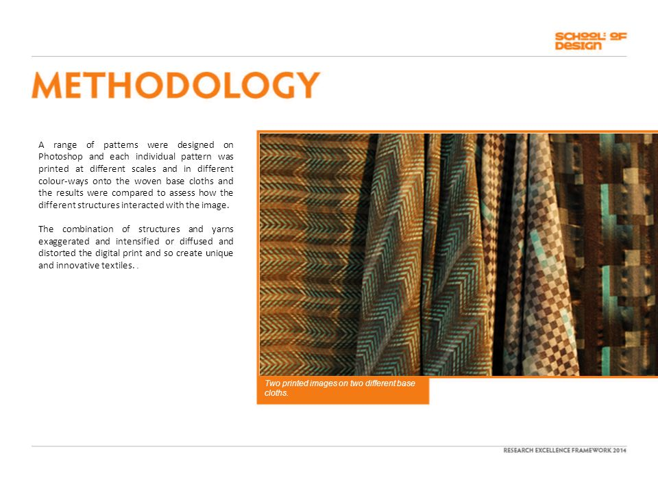A range of patterns were designed on Photoshop and each individual pattern was printed at different scales and in different colour-ways onto the woven