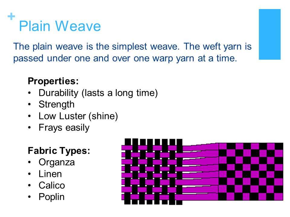 + Twill Weave In a twill weave the weft yarn goes over two and then under two warp yarns, making a diagonal pattern on the surface of the fabric.