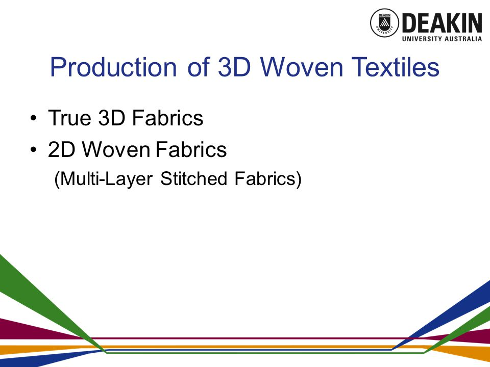 Production of 3D Woven Textiles True 3D Fabrics 2D Woven Fabrics (Multi-Layer Stitched Fabrics)