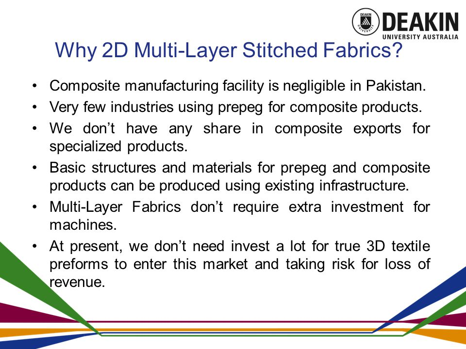 Why 2D Multi-Layer Stitched Fabrics. Composite manufacturing facility is negligible in Pakistan.