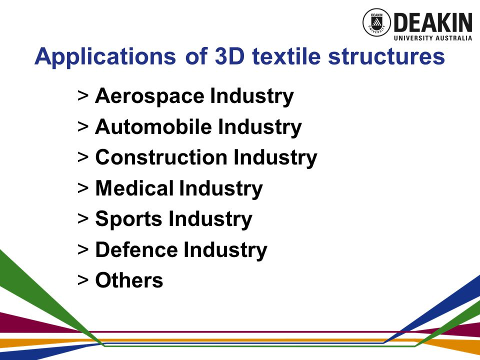 Applications of 3D textile structures  Aerospace Industry  Automobile Industry  Construction Industry  Medical Industry  Sports Industry  Defence Industry  Others