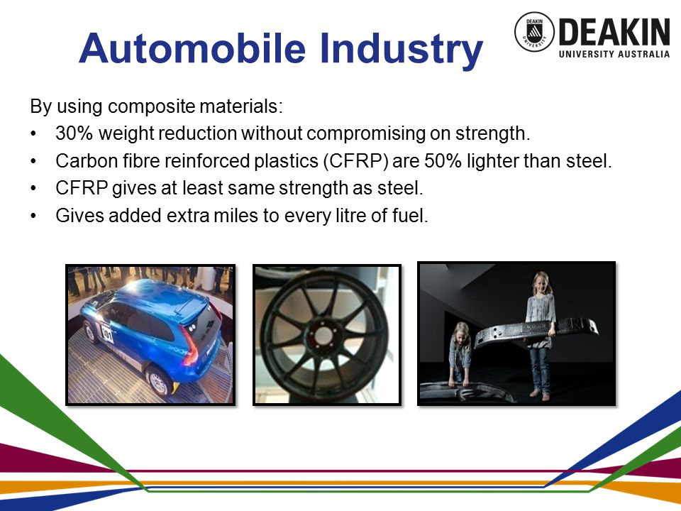 Automobile Industry By using composite materials: 30% weight reduction without compromising on strength.