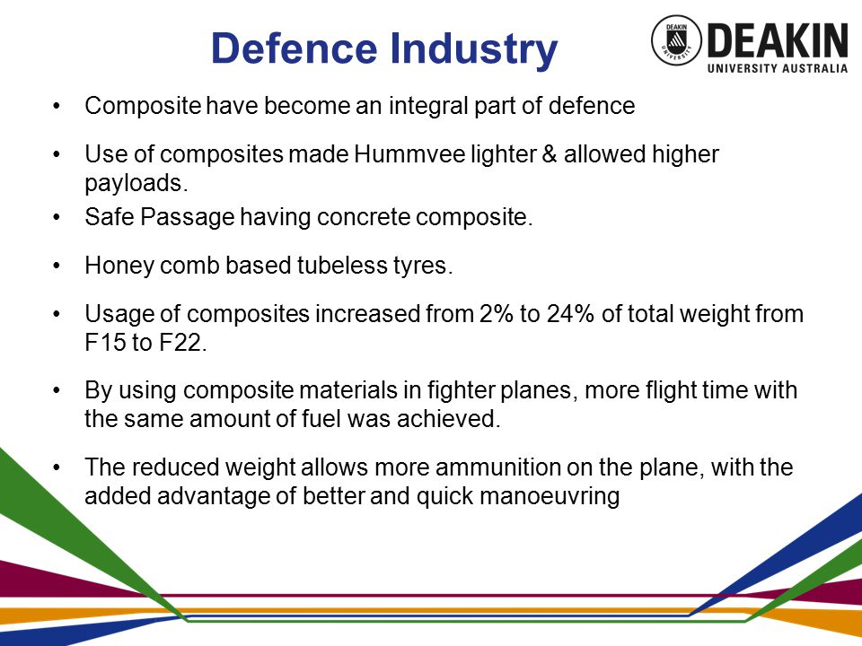 Defence Industry Composite have become an integral part of defence Use of composites made Hummvee lighter & allowed higher payloads.
