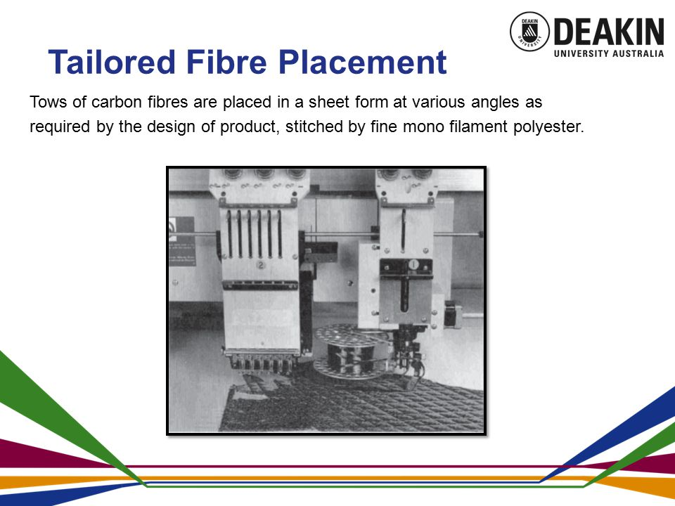 Tailored Fibre Placement Tows of carbon fibres are placed in a sheet form at various angles as required by the design of product, stitched by fine mono filament polyester.