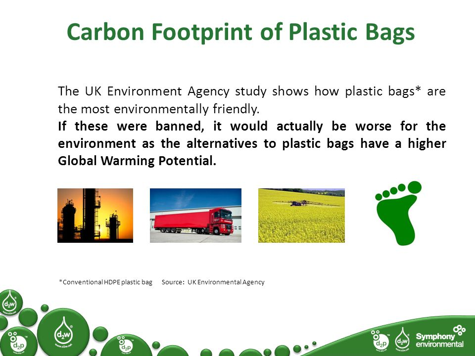 Carbon Footprint of Plastic Bags The UK Environment Agency study shows how plastic bags* are the most environmentally friendly.