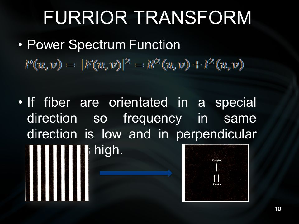 10 FURRIOR TRANSFORM Power Spectrum Function If fiber are orientated in a special direction so frequency in same direction is low and in perpendicular direction is high.