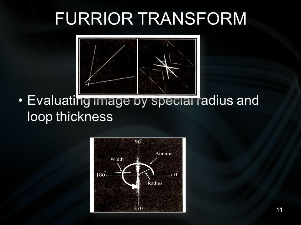 11 FURRIOR TRANSFORM Evaluating image by special radius and loop thickness