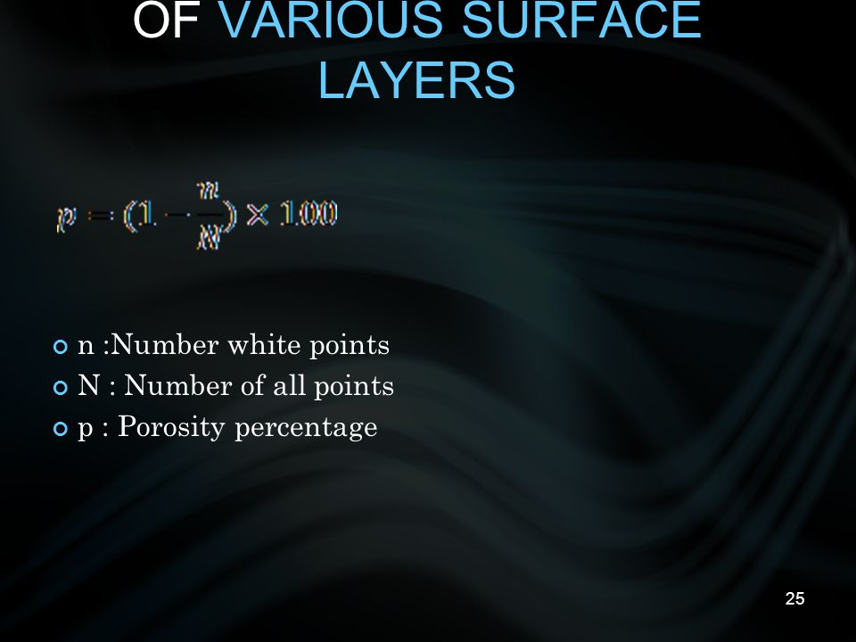25 MEASURING THE POROSITY OF VARIOUS SURFACE LAYERS n :Number white points N : Number of all points p : Porosity percentage
