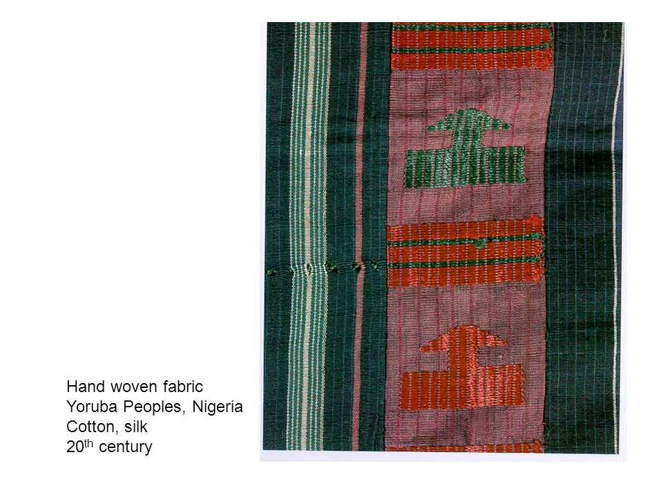 Hand woven fabric Yoruba Peoples, Nigeria Cotton, silk 20 th century