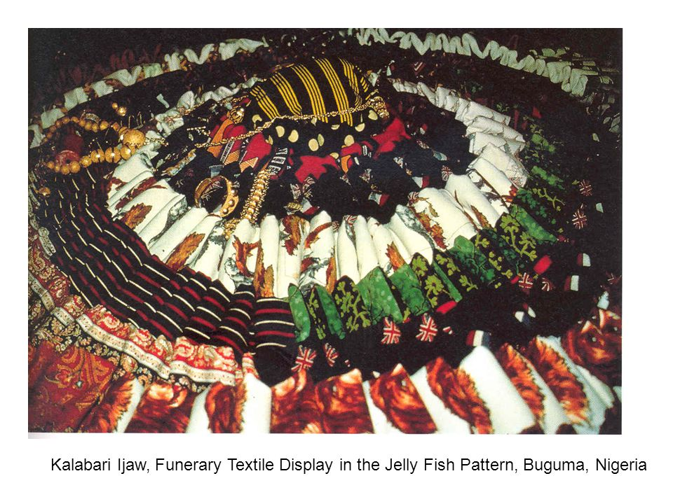 Kalabari Ijaw, Funerary Textile Display in the Jelly Fish Pattern, Buguma, Nigeria