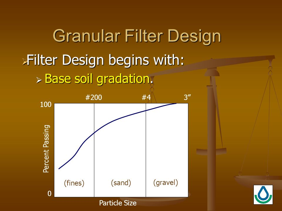 Granular Filter Design  Filter Design begins with:  Base soil gradation.