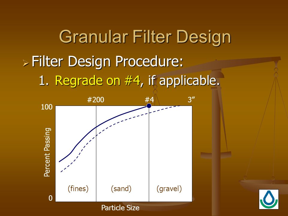 Granular Filter Design  Filter Design Procedure: 1.Regrade on #4, if applicable.