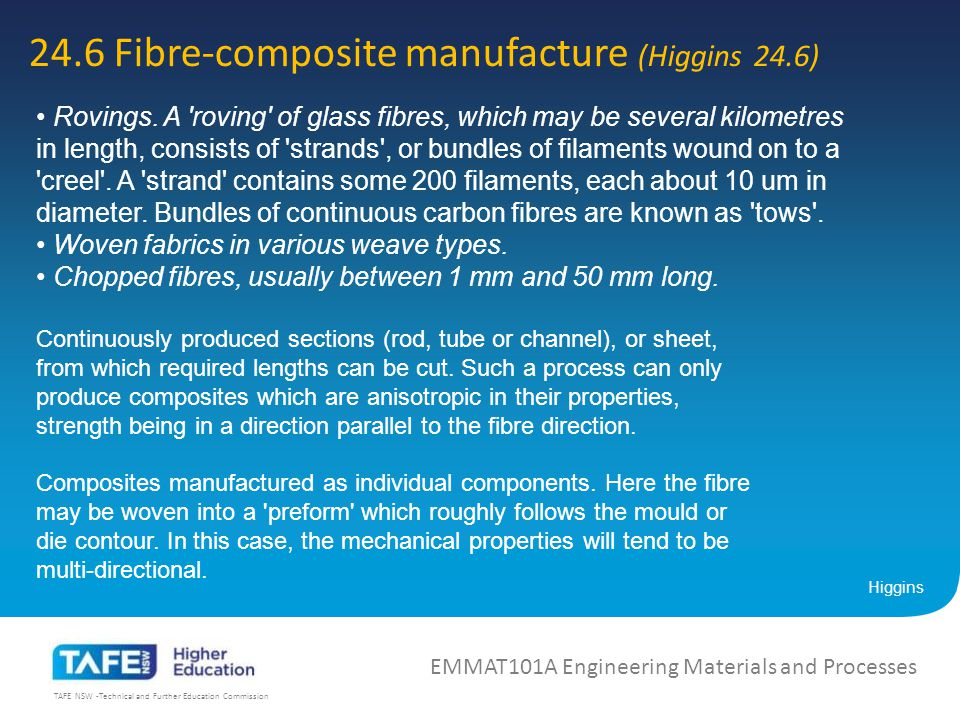 TAFE NSW -Technical and Further Education Commission 24.6 Fibre-composite manufacture (Higgins 24.6) EMMAT101A Engineering Materials and Processes Higgins Rovings.