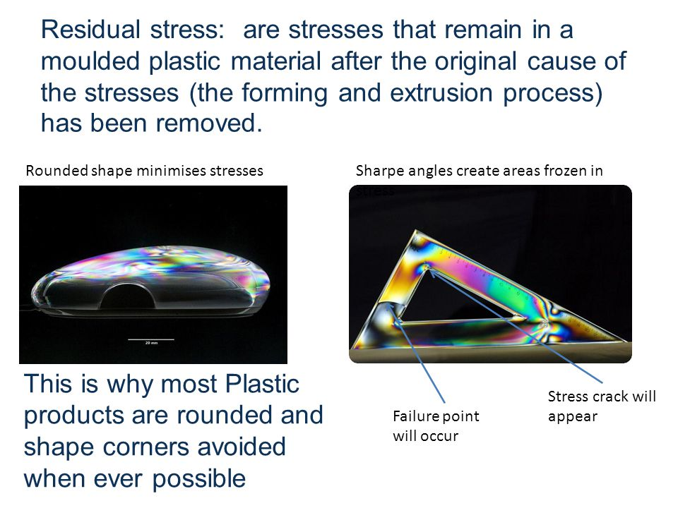 Residual stress:are stresses that remain in a moulded plastic material after the original cause of the stresses (the forming has been removed.