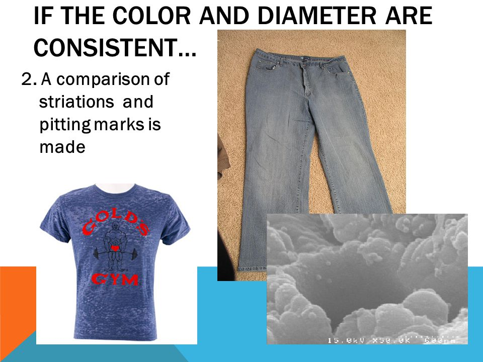 2. A comparison of striations and pitting marks is made IF THE COLOR AND DIAMETER ARE CONSISTENT…