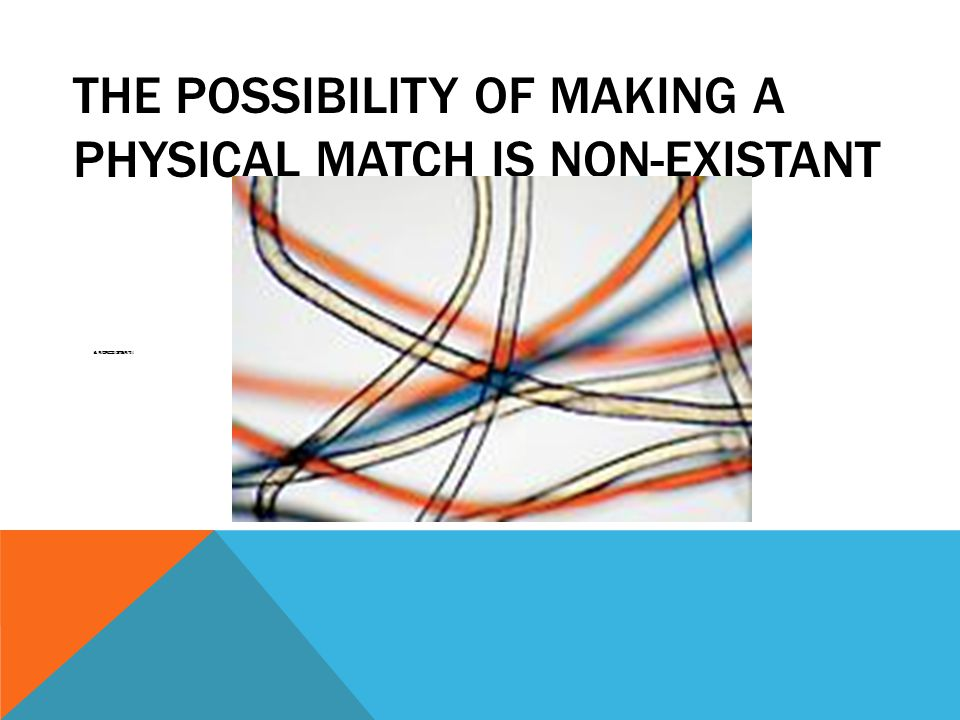 THE POSSIBILITY OF MAKING A PHYSICAL MATCH IS NON-EXISTANT Is NONEXISTANT!!