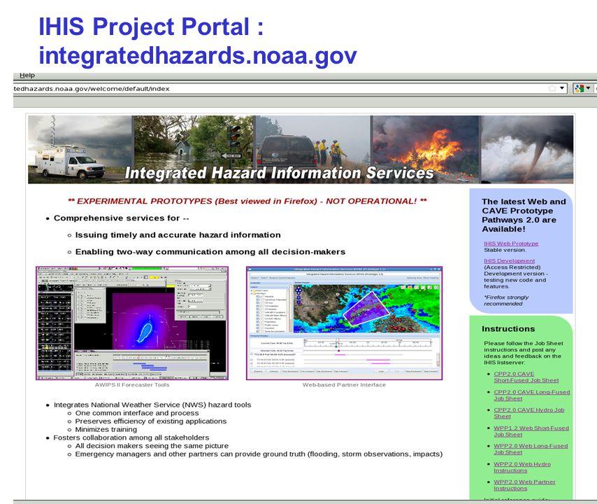 11 IHIS Project Portal : integratedhazards.noaa.gov