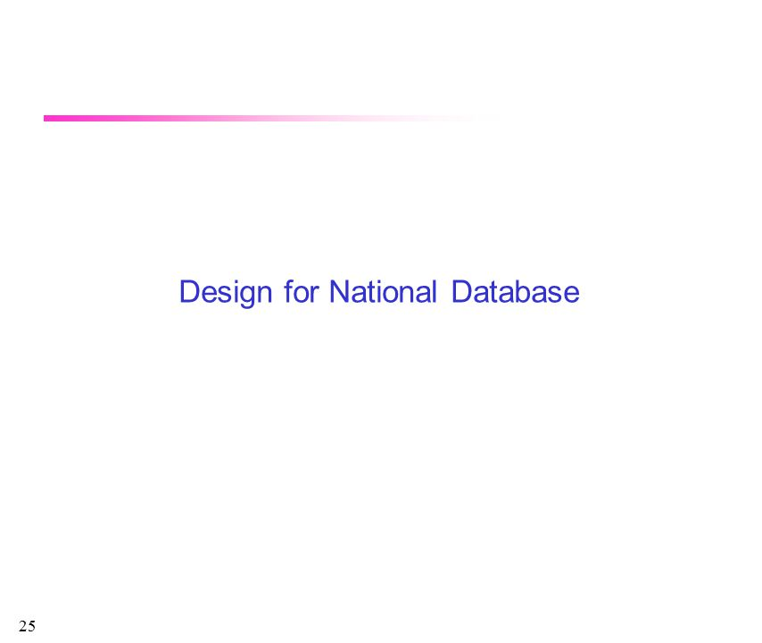25 Design for National Database