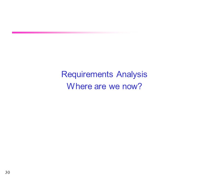 30 Requirements Analysis Where are we now?