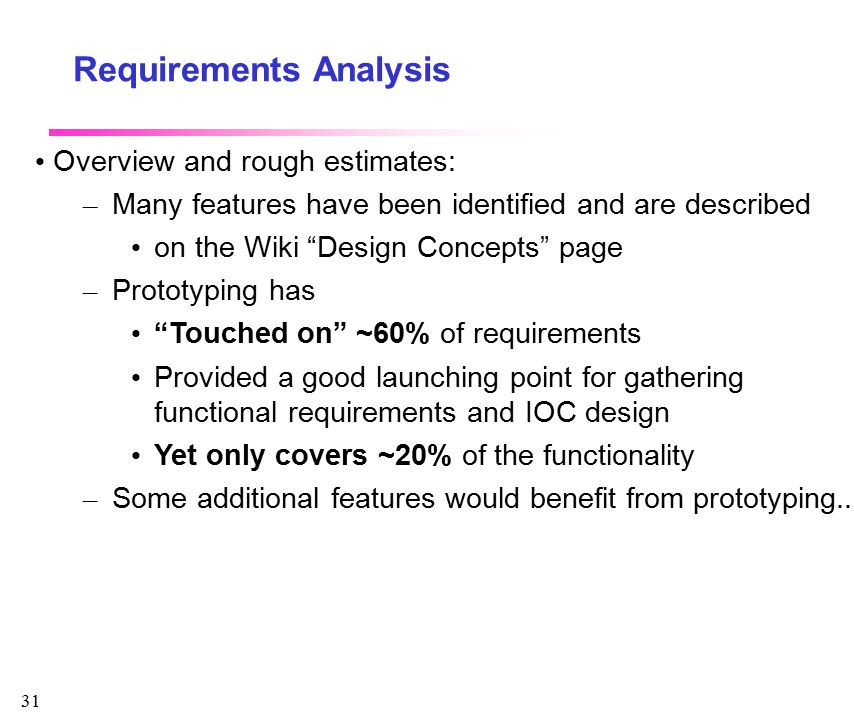 """31 Requirements Analysis Overview and rough estimates: – Many features have been identified and are described on the Wiki """"Design Concepts"""" page – Pro"""