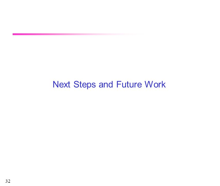 32 Next Steps and Future Work